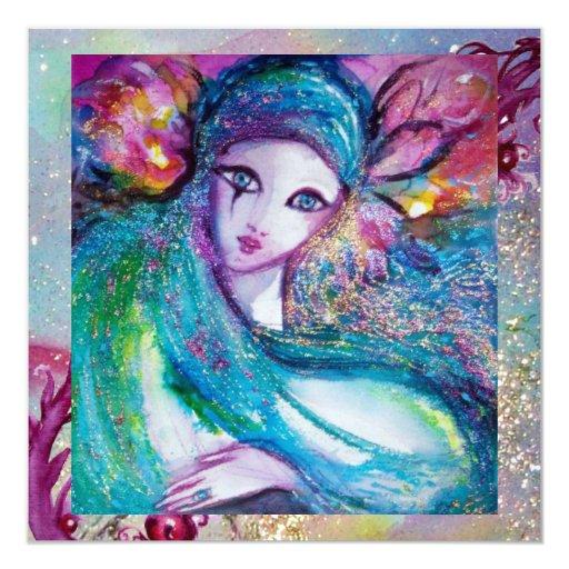 MASK IN BLUE Elegant Masquerade Party ice metallic 5.25x5.25 Square Paper Invitation Card