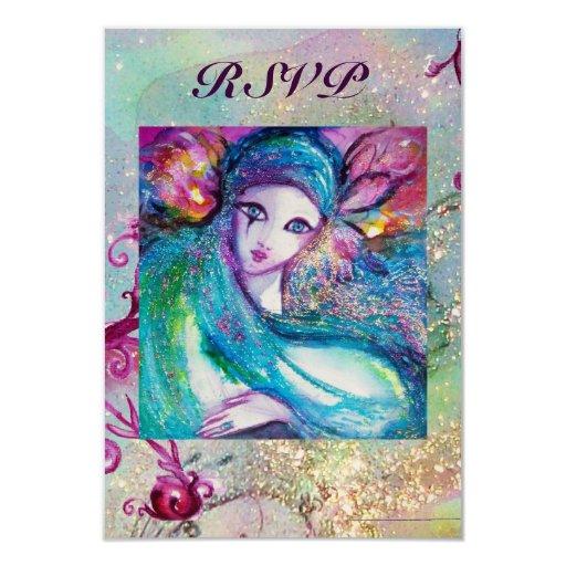 MASK IN BLUE Elegant Masquerade Party RSVP 3.5x5 Paper Invitation Card