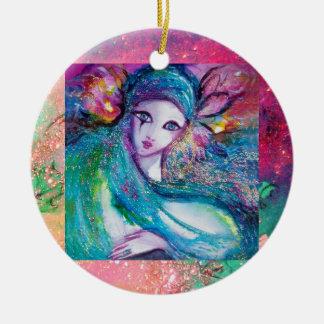 MASK IN BLUE, Monogram Christmas Ornament