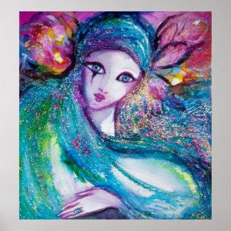 MASK IN BLUE / Venetian Masquearde Ball,teal Print