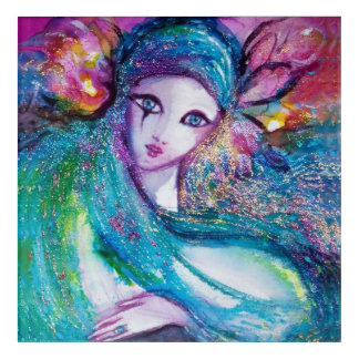 MASK IN BLUE / Venetian Masquerade Faces Acrylic Print