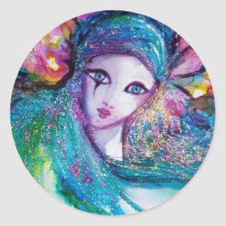 MASK IN BLUE / Venetian Masquerade Masks Classic Round Sticker
