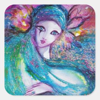 MASK IN BLUE / Venetian Masquerade Masks Square Sticker
