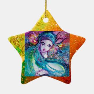 MASK IN BLUE, Yellow Star Monogram Ceramic Ornament