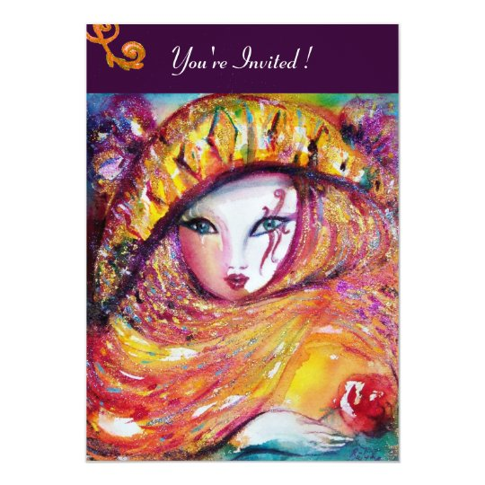 MASK IN YELLOW,MARDI GRAS PARTY  purple red violet Card
