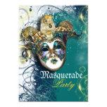 "Mask masquerade venetian mardi gras party 5"" x 7"" invitation card"