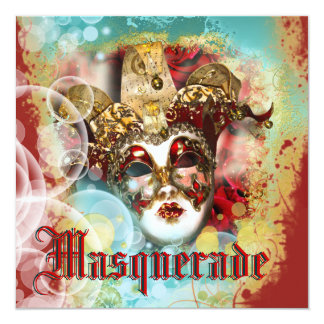 Mask masquerade venetian mardi gras party personalized announcements