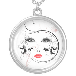 Mask Round Pendant Necklace