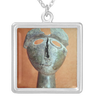 Mask of a Pyrenean divinity, from Montouse Silver Plated Necklace