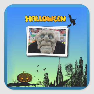 Mask of Old Man, Flying Witch and Jack o Lantern Square Sticker