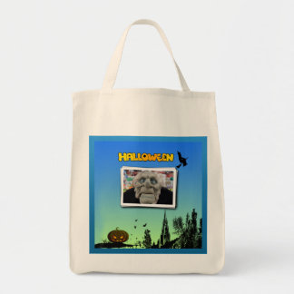Mask of Old Man, Flying Witch and Jack o Lantern Tote Bag