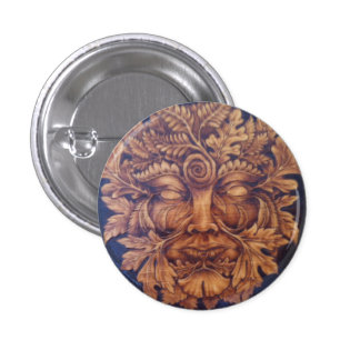 Mask of the Green Man Button Pin