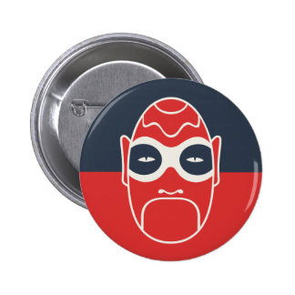 Mask On Blue And Red Button