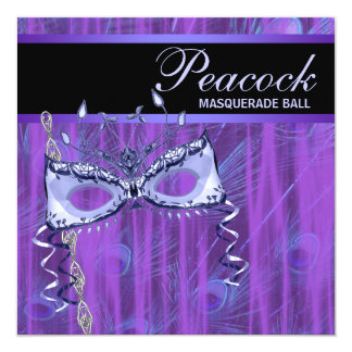 Mask Purple Peacock Feathers Masquerade Party Custom Announcements