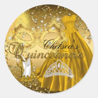 Mask & Tiara Gold Masquerade Quinceanera Sticker