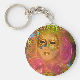 Mask venetian masquerade costume party basic round button keychain