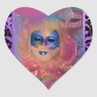 Mask venetian masquerade costume party heart sticker