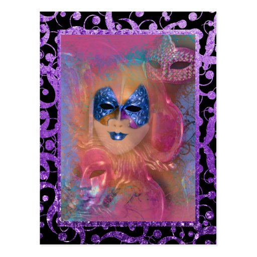 Mask venetian masquerade costume party post card