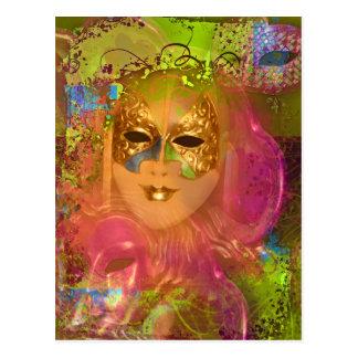 Mask venetian masquerade costume party postcard