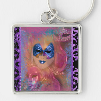 Mask venetian masquerade costume party Silver-Colored square keychain