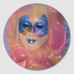 Mask venetian masquerade costume party round stickers
