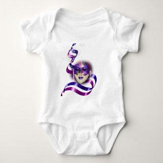 Mask venetian purple ribbons bubbles baby bodysuit