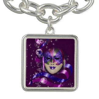 Mask venetian purple ribbons bubbles charm bracelet
