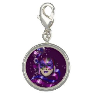 Mask venetian purple ribbons bubbles charms