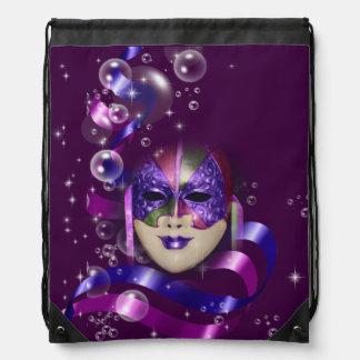 Mask venetian purple ribbons bubbles drawstring bag
