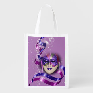 Mask venetian purple ribbons bubbles grocery bag