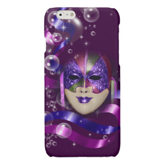 Mask venetian purple ribbons bubbles glossy iPhone 6 case
