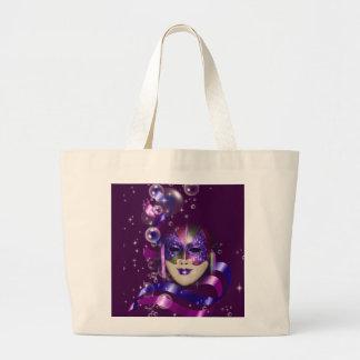 Mask venetian purple ribbons bubbles large tote bag