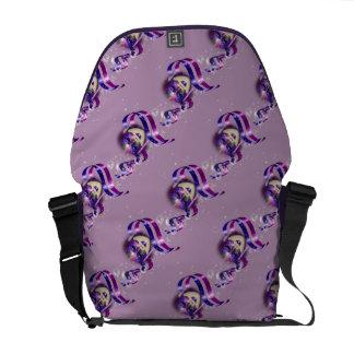 Mask venetian purple ribbons bubbles messenger bag