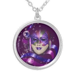 Mask venetian purple ribbons bubbles round pendant necklace