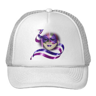 Mask venetian purple ribbons bubbles trucker hat