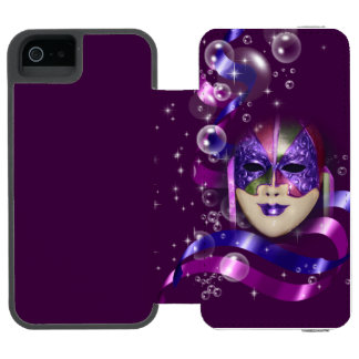 Mask venetian purple ribbons bubbles wallet case for iPhone SE/5/5s