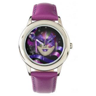 Mask venetian purple ribbons bubbles wrist watch