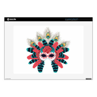 """Mask with Roses and Feathers2 15"""" Laptop Decal"""