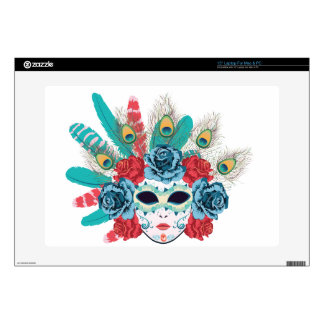 Mask with Roses and Feathers3 Laptop Decal