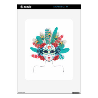 Mask with Roses and Feathers iPad Skins