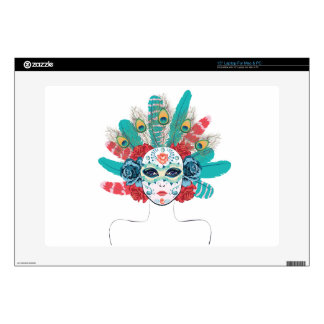 Mask with Roses and Feathers Laptop Skin