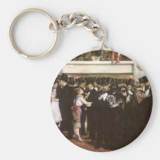 Masked Ball at the Opera by Manet, Impressionism Basic Round Button Keychain