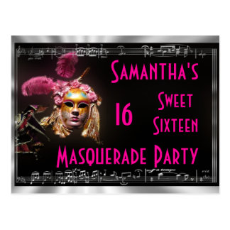 Masked ball sweet sixteen invitation postcard