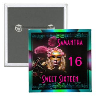 Masked ball sweet sixteen pinback button