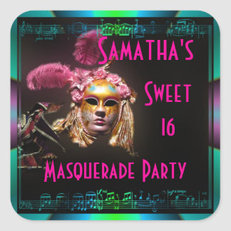Masked ball sweet sixteen square sticker