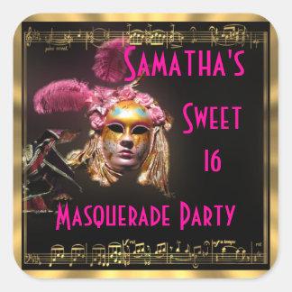 Masked ball sweet sixteen square sticker