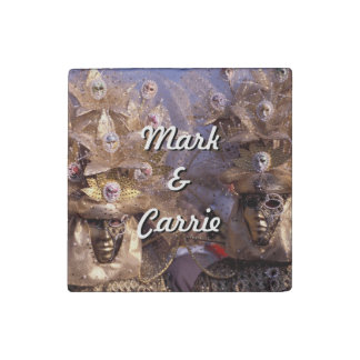 Masked Couple at the Carnival of Venice, Italy Stone Magnet