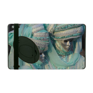 Masked Couple In Pale Green Carnival Costumes iPad Case