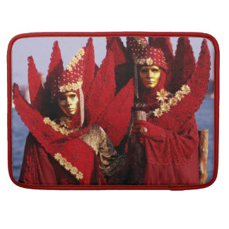 Masked Couple With Red Carnival Costumes Sleeve For MacBooks
