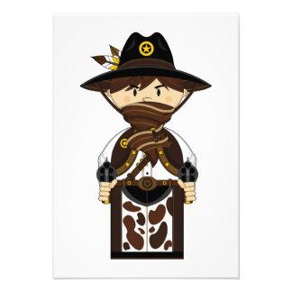 Masked Cowboy Sheriff RSVP Card Custom Announcement